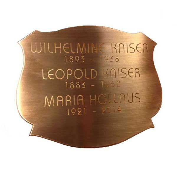 Grabschild - Kupferschild mit Formfräsung und Gravur