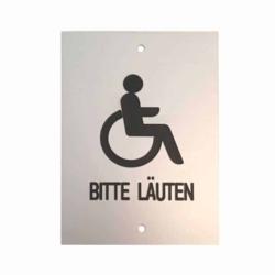 Schild.Gravur.Alu .Rollstuhlsymbol Bitte läuten.70x100