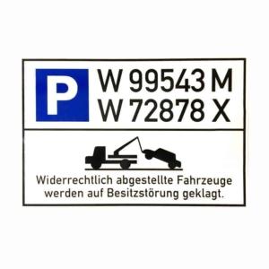 Schild - Parken verboten mit Nummernschild