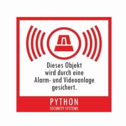 aufkleber.python.alarm videoanlage gesichert.60x60