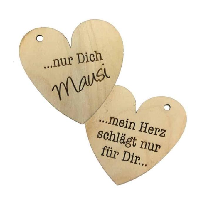 Liebesanhänger mit Holzgravur