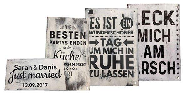 Retroschilder, Vintage mit Beschriftung nach Wunch