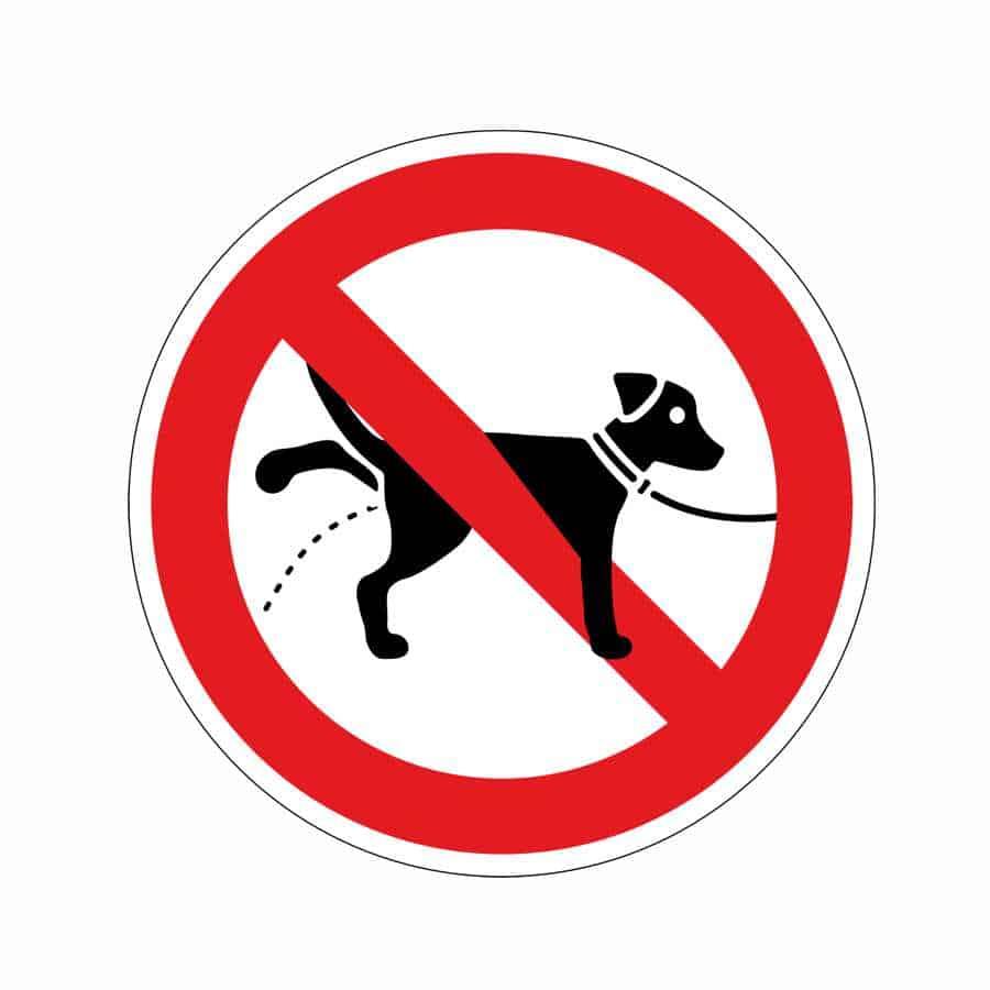 Verbotsaufkleber.Kein Hundeklo.