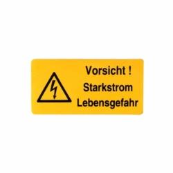 Aufkleber.Vorsicht Starkstrom LebensgefahrStromgefahr.74x37