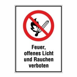 verbotsaufkleber.feuer offenes licht verboten.140x200