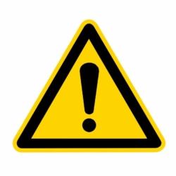 WARNAUFKLEBER.Warnung vor einer Gefahrenstelle